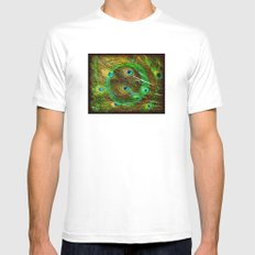 The Peacock Dream In Gold SMALL White Mens Fitted Tee