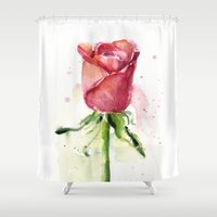 Rose Watercolor Flower P… Shower Curtain