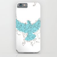 iPhone & iPod Case featuring Bird Fly 3 - Aqua/Brown by Kim Moulder