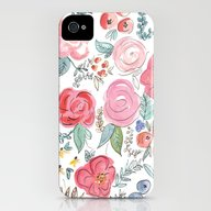 Watercolor Floral Print iPhone (4, 4s) Slim Case