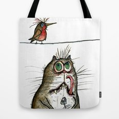 A Cat ponders, fish or poultry? Tote Bag