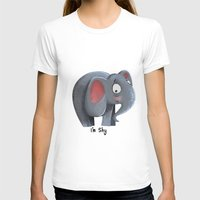 Elly the Shy elephant Womens Fitted Tee White SMALL