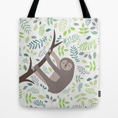 Happy Sloth with Leaves Illsutration Tote Bag