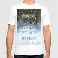 Explore Create Repeat SMALL White Mens Fitted Tee