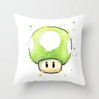 1UP Mushroom Painting Throw Pillow