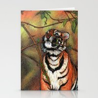 Baby Tiger Is Playing Stationery Cards
