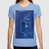 blue pattern art  Womens Fitted Tee Athletic Blue SMALL