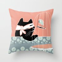 Kitty Bandit Throw Pillow