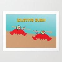 Jousting Sushi Art Print