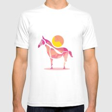 Horse White SMALL Mens Fitted Tee
