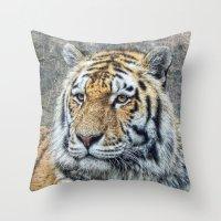 panthera tigris Throw Pillow