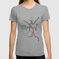Boston Subway - The T Womens Fitted Tee Athletic Grey SMALL