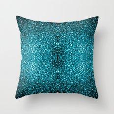 Beautiful Aqua blue glitter sparkles Throw Pillow