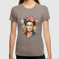 Frida Kahlo Womens Fitted Tee Tri-Coffee SMALL