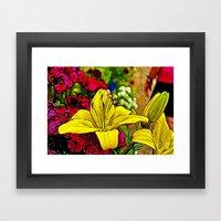 Fractal Yellow Lily Framed Art Print