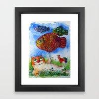 happy summer cat Framed Art Print