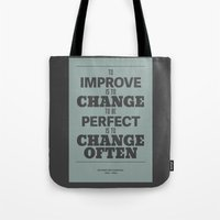 'To Improve Is To Change… Tote Bag