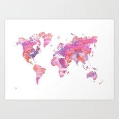 Watercolour World Map (orange/pink/purple) Art Print