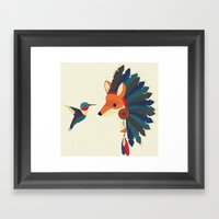 Painted Indian Fox and Hummingbird Framed Art Print