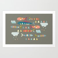 Fish Clouds Art Print