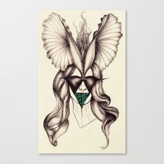 Petal headpiece with embroidered mask  Canvas Print