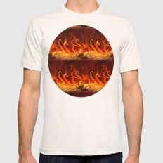 Flame Blazing Skulls Mens Fitted Tee Natural SMALL