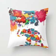 Paint elephant Throw Pillow