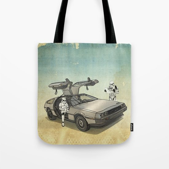 Lost, searching for the DeathStarr _ 2 Stormtrooopers in a DeLorean  Tote Bag