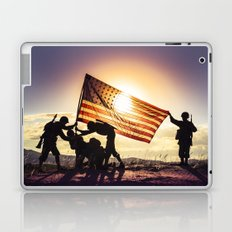 Soldiers Raising An American Flag At SunsetSoldiers Raisng An American Flag At Sunset Laptop & iPad Skin
