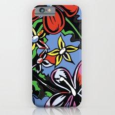 tropical flowers blue Slim Case iPhone 6s