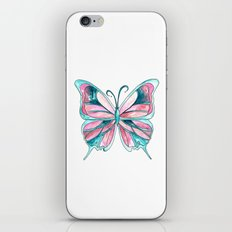 Pink and Blue Watercolor Butterfly iPhone & iPod Skin