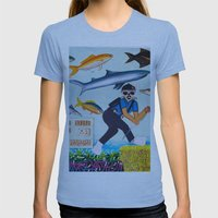 Deep Sea Fishing Womens Fitted Tee Athletic Blue SMALL