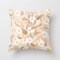 Throw Pillow featuring Floral Curve Pattern, Ro… by /CAM