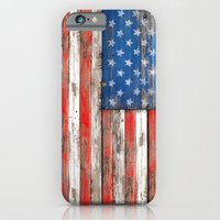 iPhone Cases featuring USA Vintage Wood by Diego Tirigall