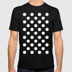 Polka Dots (White/Aqua Cyan) Mens Fitted Tee Tri-Black SMALL