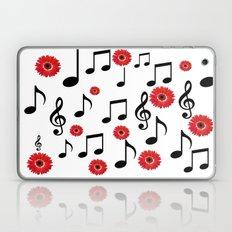 Musical Notes & Red Gerberas Laptop & iPad Skin