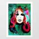 colorful hair Art Print