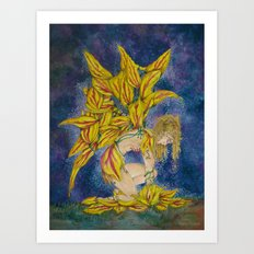 Fairy of The Rembrandt Tulip Flower Art Print