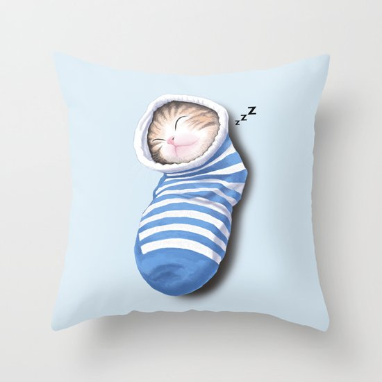 Cat in the Sock Throw Pillow