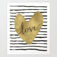 Love gold foil heart Art Print