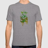 Yoda Print Mens Fitted Tee Athletic Grey SMALL