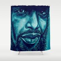 heron in blue Shower Curtain