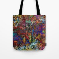 Abstract In Red & Blue Tote Bag