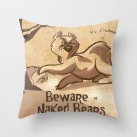 Beware Of Naked Bears Throw Pillow