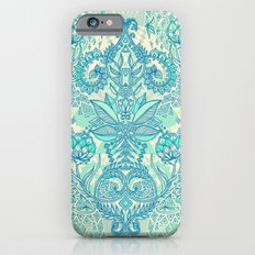 Botanical Geometry - nature pattern in blue, mint green & cream iPhone 6 Slim Case