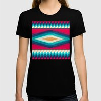 SURF GIRL CHEVRON Womens Fitted Tee Black SMALL