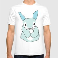 Blue Bunny Rabbit Mens Fitted Tee White SMALL
