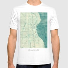 Milwaukee Map Blue Vintage SMALL White Mens Fitted Tee