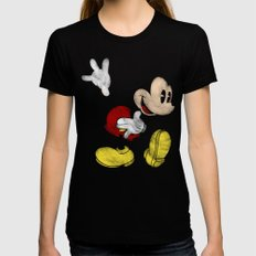 DISNEY MICKEY MOUSE: DARK MICKEY Womens Fitted Tee Black SMALL