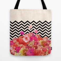 Chevron Flora II Tote Bag